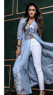 Light Blue Floral Kurti Top